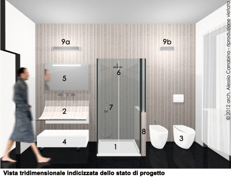 Progetto di ristrutturazione del bagno architetto consiglia - Bagno stretto e lungo disposizione sanitari ...