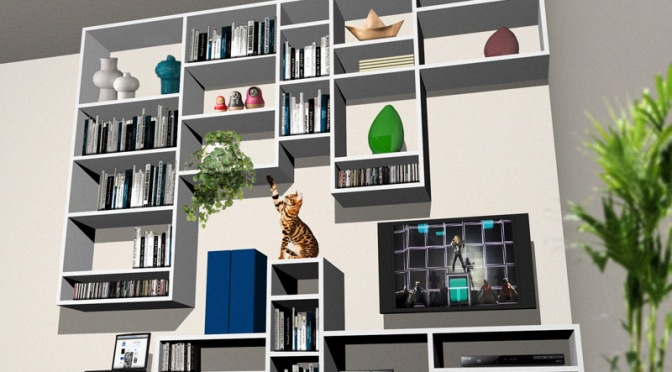Libreria su misura in soggiorno