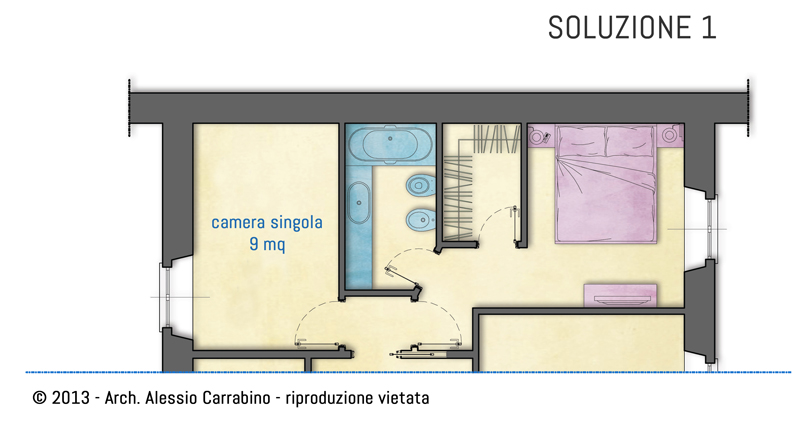 una cabina armadio nella camera matrimoniale architetto