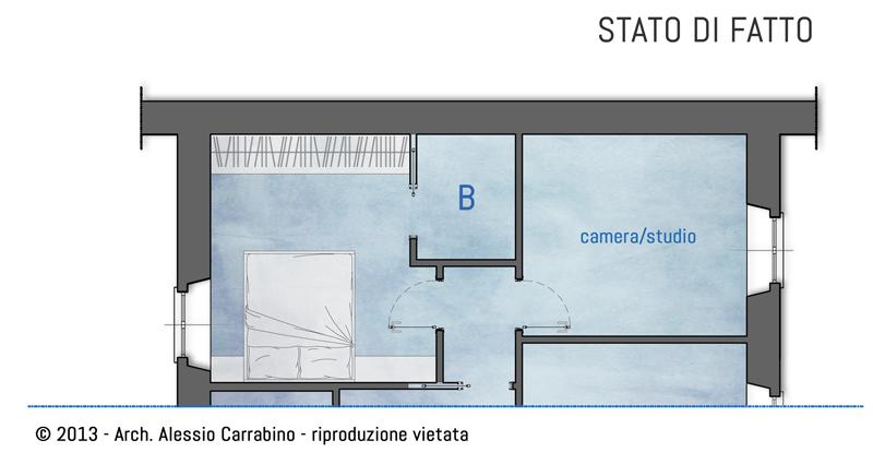 Una cabina armadio nella camera matrimoniale architetto for Una planimetria della cabina del telaio