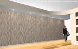 Controsoffitto - Soluzione 2. La parete è valorizzata con carta da parati.