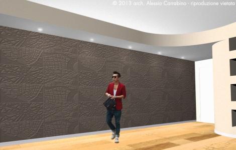 Controsoffitto - Soluzione 2. La parete è valorizzata con rivestimenti murali.