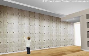 Controsoffitto - Soluzione 1. La parete è valorizzata da pannelli tridimensionali.