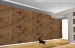 Controsoffitto - Soluzione 1. La parete è valorizzata con carta da parati.