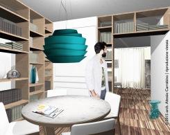 Una libreria a tutta altezza separa ambienti dalle diverse funzioni, pur mantenendo continuità visiva e luminosa.